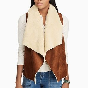 Chaps Faux Suede Shearling Vest Brown & Cream